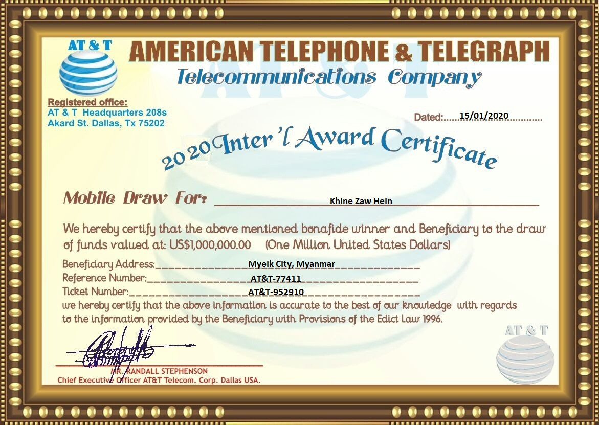 2020 American Telephone and Telegraph (ATT) Mobile Award Scam