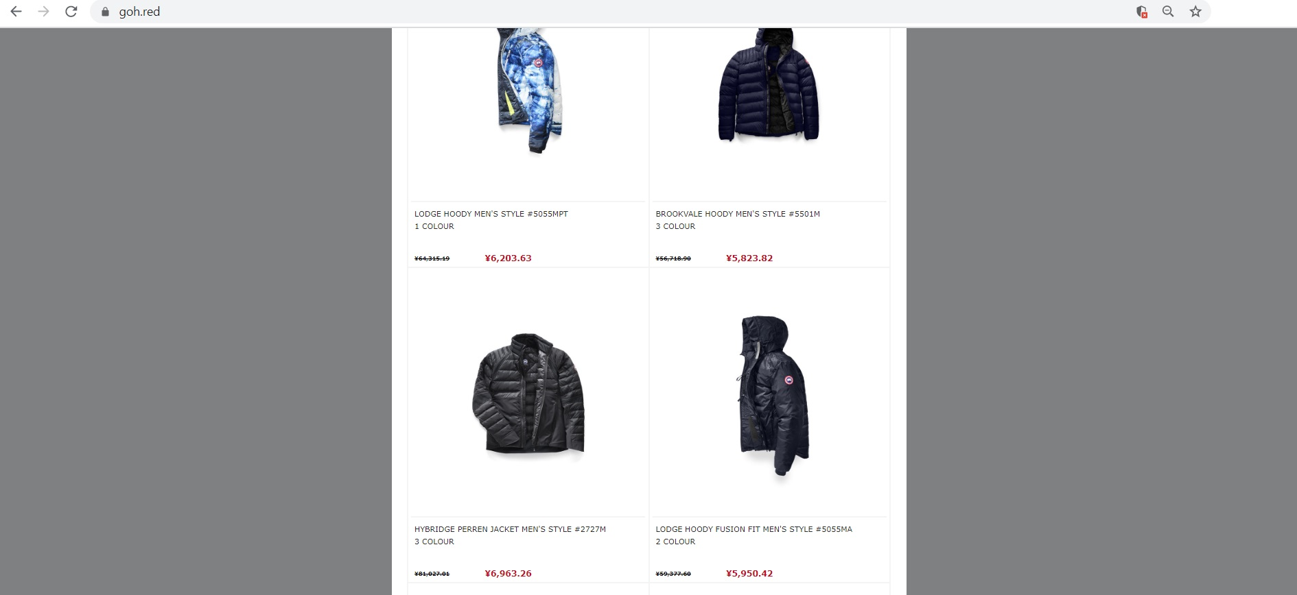 www.goh.red fake Canada Goose store