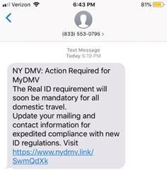 NYS DMV Text Scam - Action Required - Update Contact Information