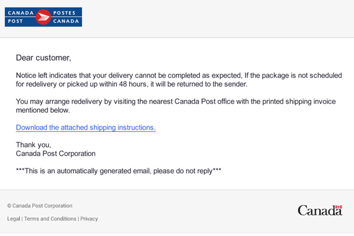 Canada Post Shipment Notification Phishing Scam