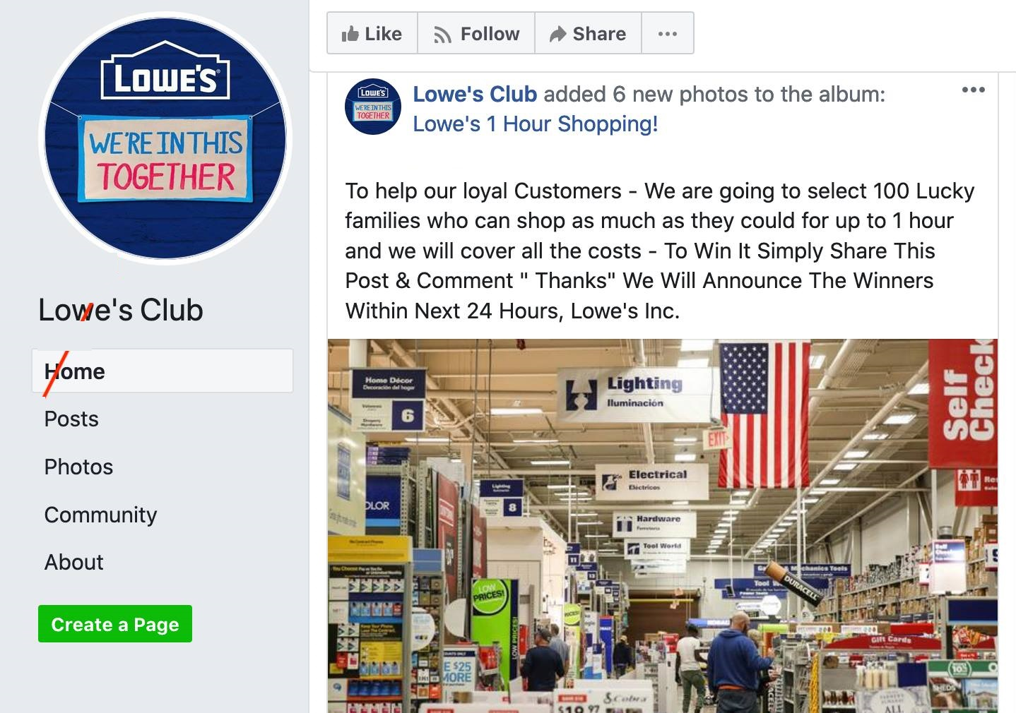 Lowes Facebook Scam, Lowes Club 1 Hour Shopping, Lowes Scam, Lowes Club Scam, Lowes Club, Lowes 1 Hour Shopping, Lowes Coupon Scam