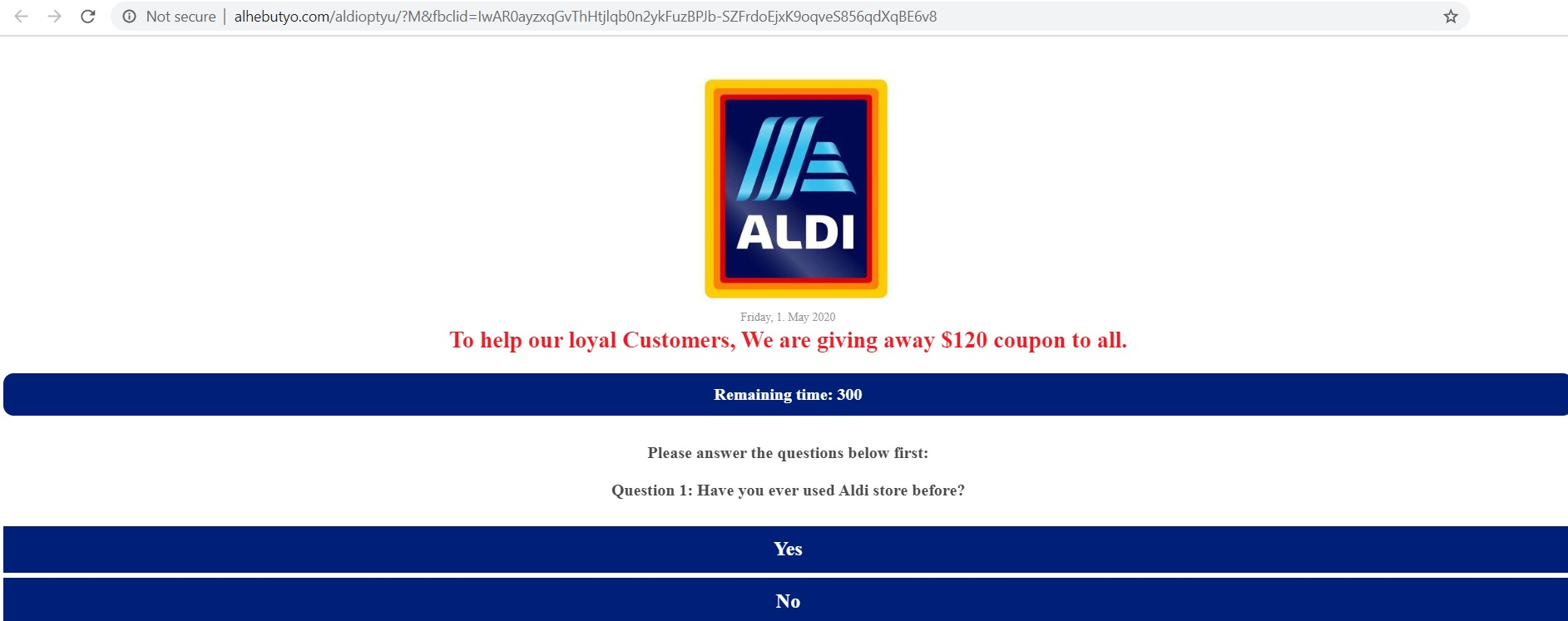 The Fake Aldi $120 Coupon Facebook Post