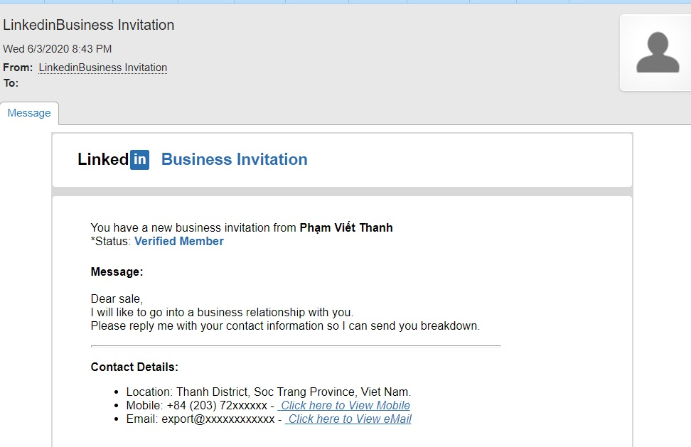 The Linkedin Business Invitation Scam
