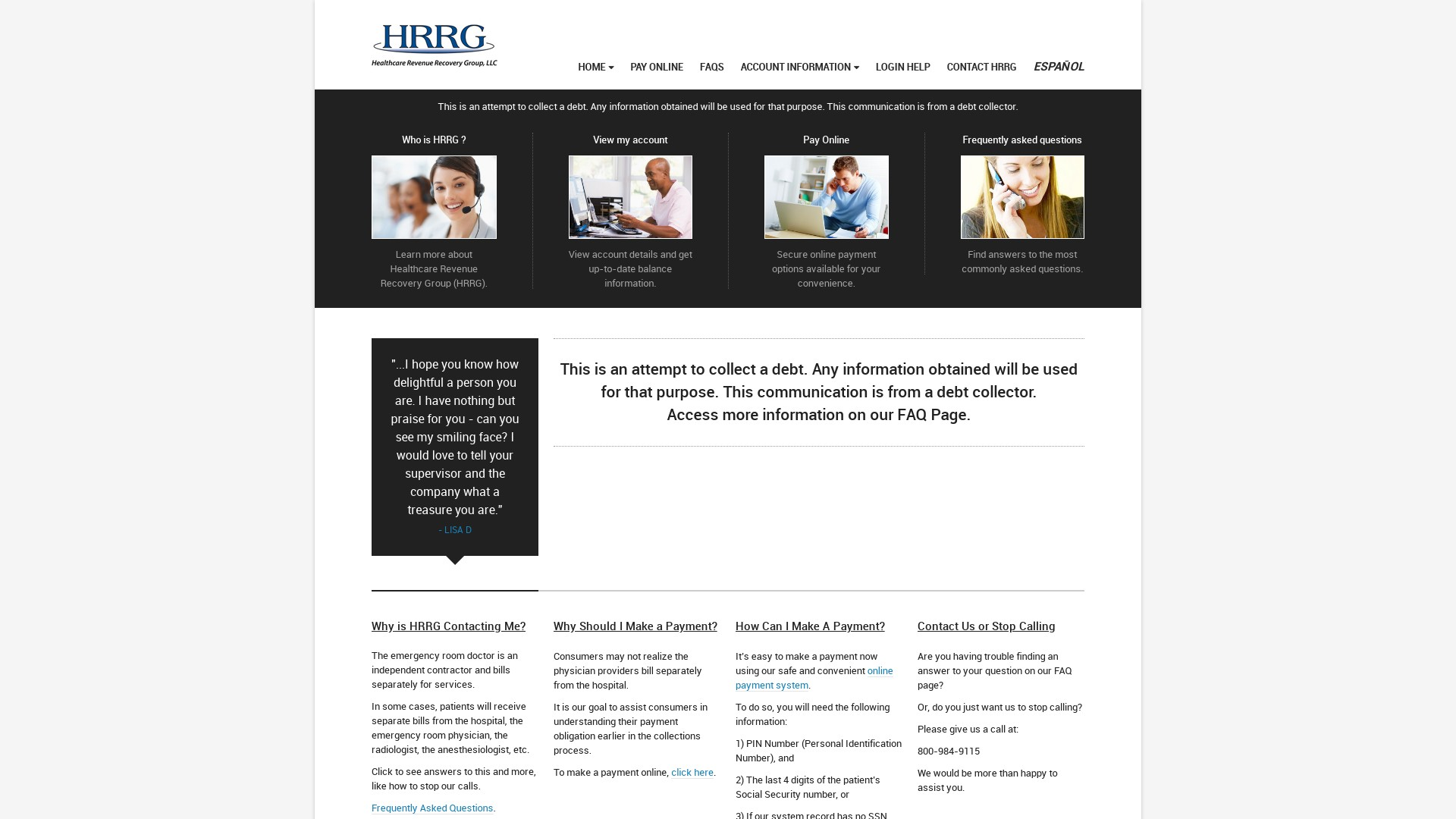 Is hrrg collections a Scam? Review of the Debt Collection Website