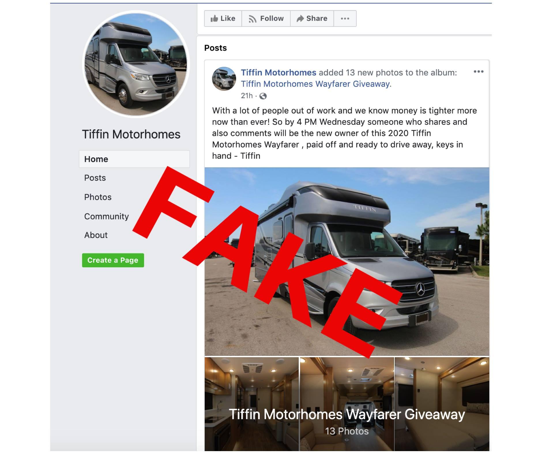 Tiffin Motorhomes Wayfarer Giveaway Scam on Facebook