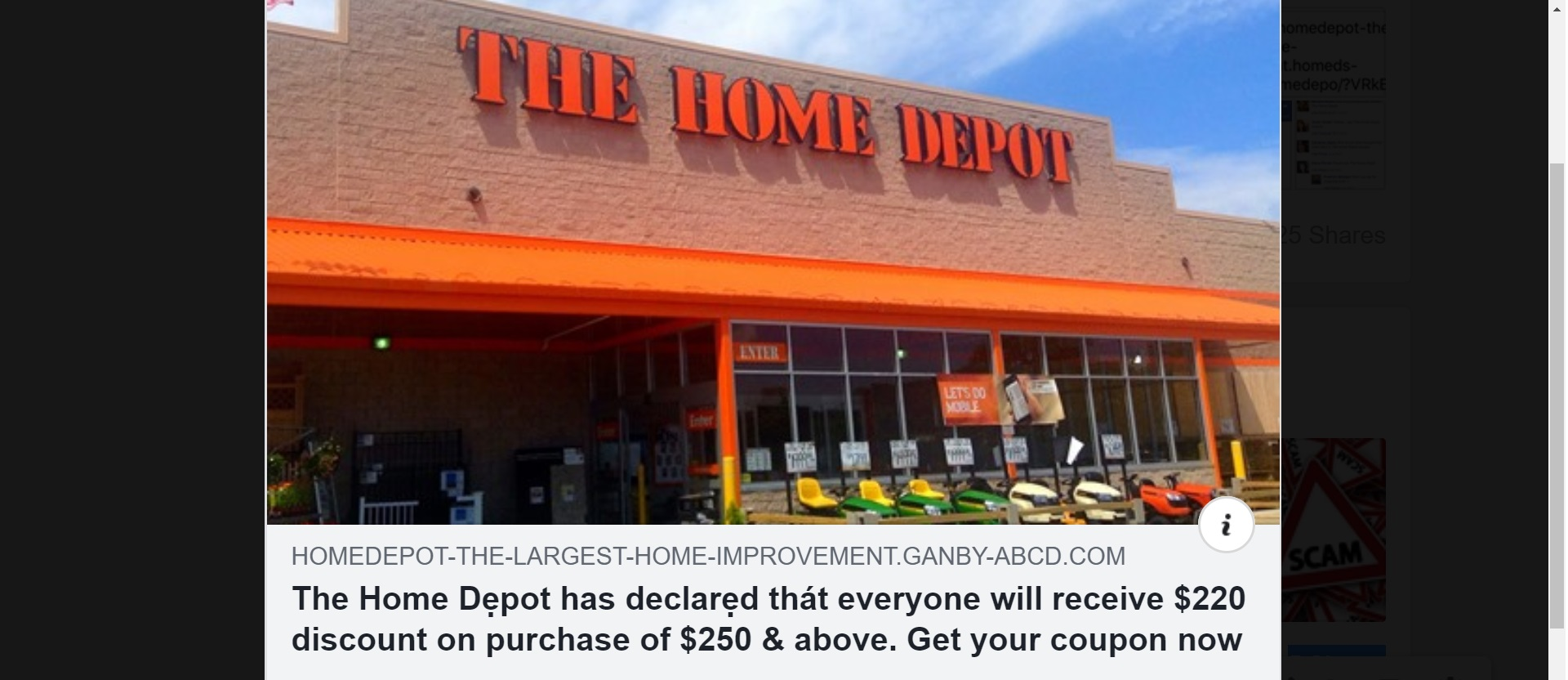 Home Depot Coupon Scam  $220 Discount on Purchase of $250