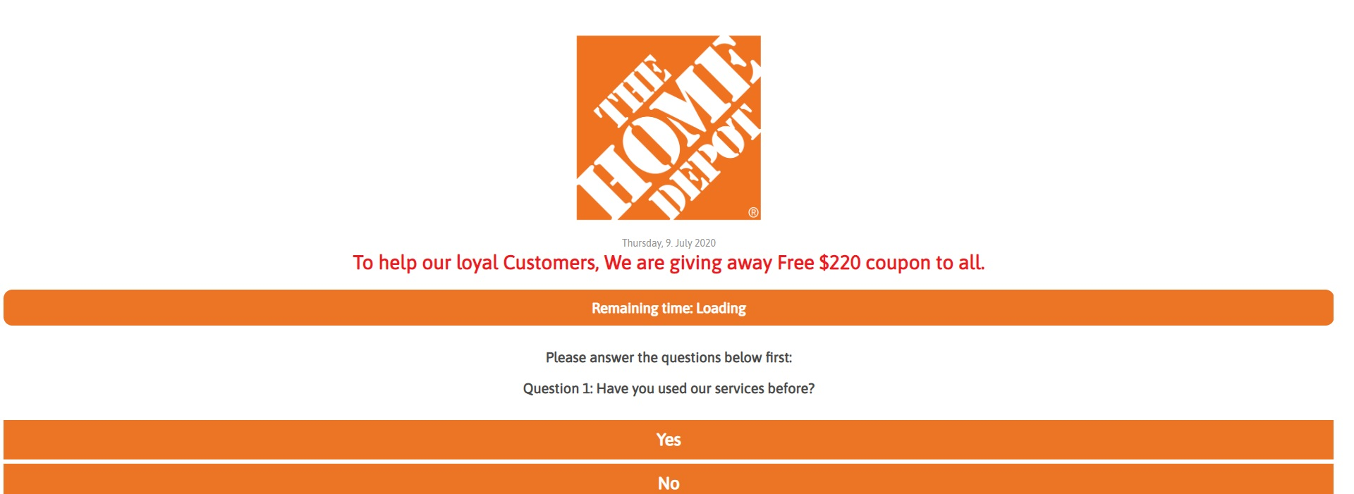 Home Depot Coupon Scam: $220 Discount on Purchase of $250