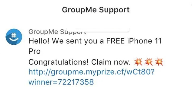Groupme Free iPhone Scam