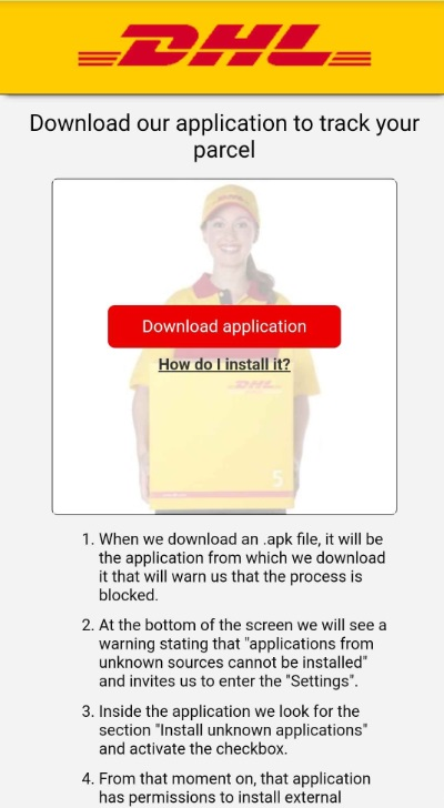 DHL Download to track your parcel scam