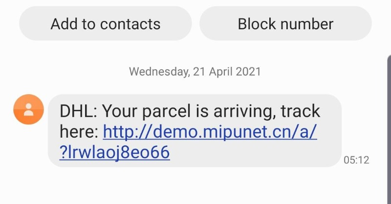 Three DHL Flubot Malicious Text Scam
