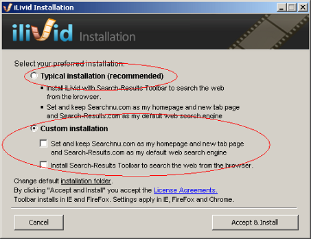 Bandoo Media Inc iLivid download manager installation options