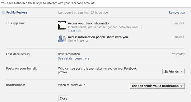 Instructions for removing the Profile Peekers Facebook Application from your account