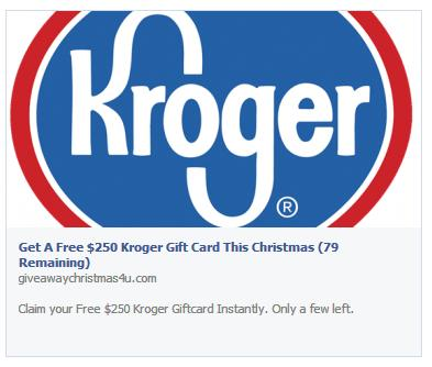 "The ""Free $250 Kroger Gift Card This Christmas"" Facebook post"