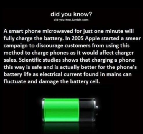 hoax: Microwaving a Smartphone Can Charge the Battery