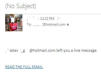 Phishing or Fake Hotmail Outlook Email