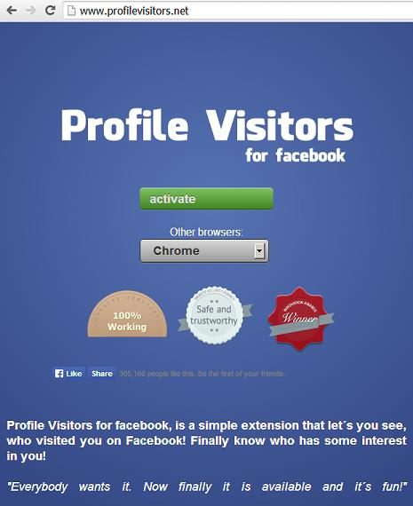 "Fake ""Profile Visitors for Facebook"" Application and website www.profilevisitors .ne"