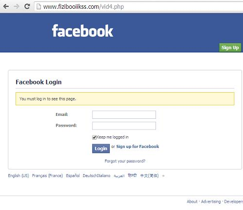 The Phishing Facebook Websites: www .Wavidz.com and www.fizibooiikss.com